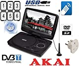 AKAI 7 inch MULTIREGION portable dvd player with dvb-t Digital receiver / SD/MMC Card Reader /USB PORT / STEREO SPEAKERS / BUILT IN RECHARGEABLE BATTERIES