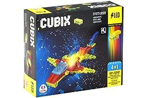 CUBIX 38328-Construcción con Luces Avión, 66Unidades, Color Transparente