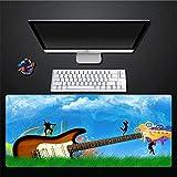 Zghzsc Tapis de Souris, Lawn Ciel Creative Simple Blue Guitar surdimensionné Souris en Caoutchouc rembourré étanche Pad Clavier Pad Home Office Game Pad Cadeau, 300X700Mm (Size : 400x800mm)