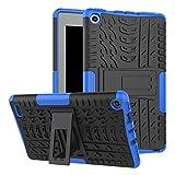 Amazon Fire 7 Tablet (7th Generation2-in-1-Design Leichte Hybrid-Kombination Hoch Belastbare Robuste Hülle Standfunktion Stoßsicherer Kantenschutz Anti Fingerabdruck Flexible Ganzkörper-Schutzhülle- Blau