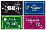 osters muschel-sammler-shop 4er Set Gartenschilder - Kunststoff - Wetterbeständig - Grillecke/Lieblingsplatz/Biergarten/Sind im Garten - zur Einfachen Befestigung (4 Ecklöcher)
