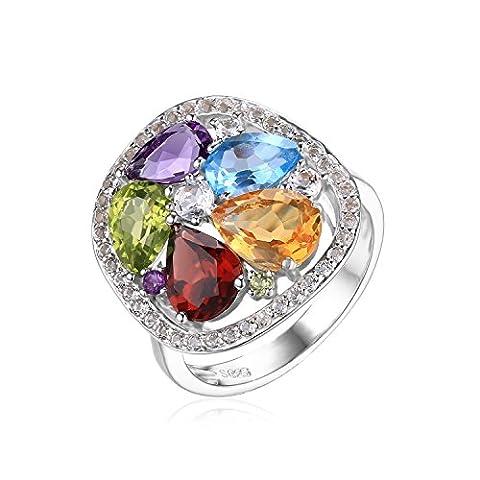 JewelryPalace 5.32ct Magnifique Bague Femme en Argent Sterling 925 en Améthyste Cirine Grenat Péridot Topaze Bleu Naturelle Taille 57 - Ametista Promise Ring
