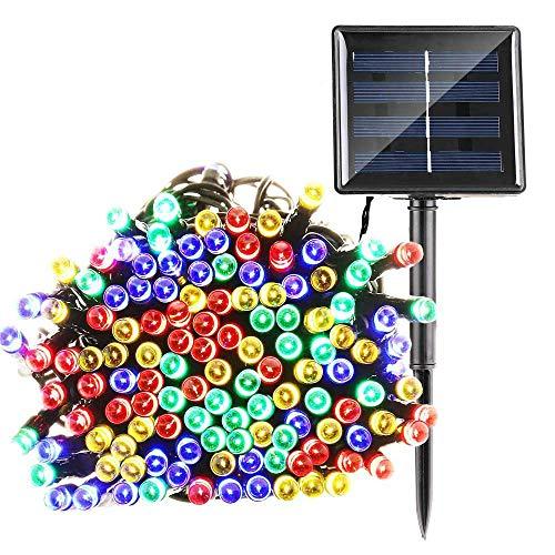 Qedertek Luci Stringa Solare da Giardino, Catena Luminosa 22M 200 LED, Luci Solari Impermeabile da Esterno, Luci Decorativa per Interni e Esterni, Giardino, Terrazza, Festa di Natale (Colorate)