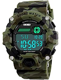 VAZEEDO Boys Camouflage LED Sport Watch,Waterproof Digital Electronic Casual Military Wrist Kids Sports Watch with Silicone Band Luminous Alarm Stopwatch Watches