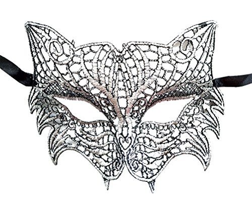 Katze Party Stadt Halloween Kostüme (Schnüren Venezianische Maskerade Maske Fuchs Löwe Katze Maske Halloween Mardi Gras Maske (Silber)