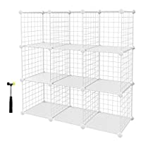 SONGMICS 9 Cubes Metal Wire Storage Rack, Interlocking Shelving Unit with Shelves and PP Plastic Sheets for Book Shoes Toys Clothes Tools, in Living Room Bathroom