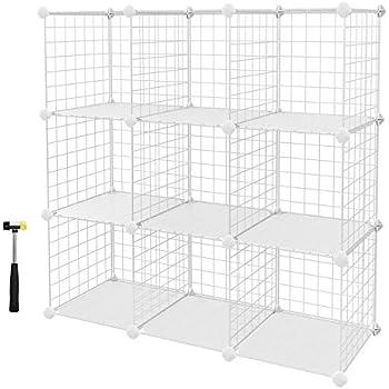 Songmics 6 Cubes Metal Wire Storage Rack Interlocking