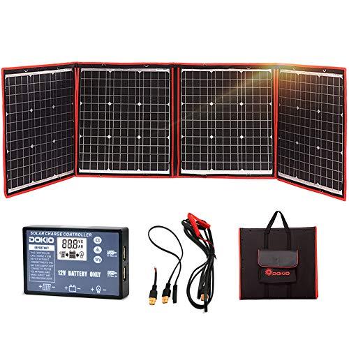 DOKIO 150w Solar Panel Kit,Monokristalline, tragbare, flexible Faltung+ Solarladeregler und PV-Kabel(für 12V Batterie)