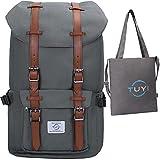 Die besten Große Bookbags - 15 Zoll Laptop Rucksack Retro Wasserabweisend Nylon Daypack Bewertungen