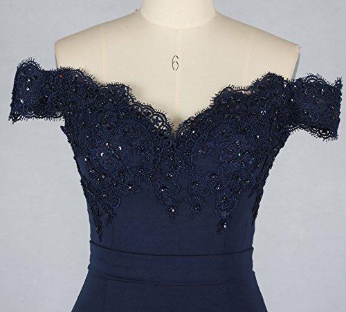 Lange Meerjungfrau Abschlussball Kleid weg von den Schulter Abend Partei Kleidern für Frauen Spitze Brautjunfer Kleider Style11 Marineblau