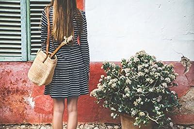 Vurmashop Capazo Artesanal Beige con asa de cuero - Bolso de Sisal Estilo Vintage - Cesta de Playa para Mujer