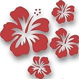 MIXED SET HIBSIKUS Blüten, 4 Stück rote Autoaufkleber Blumen Sticker Outdoor, Wandtattoo & Fensterbild Hibiscus Hawaii