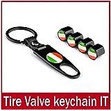 sprigy (TM) Italie Italien Drapeau Capuchons Valve pneu roue tige Air la poussière pour voiture + porte-clés Noir Valve 1Drapeau Pneu Pneu Drapeau Valves Bouchons