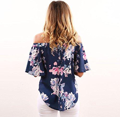 Covermason Damen One-Shoulder Schulterfrei Blusen Sommer Blumen gedruckt Tops Marine