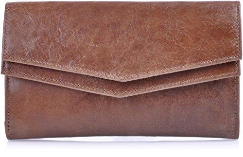 Leder Damen Geldbörse braun von MASQUENADA, Damen Portemonnaie Damen Portmonee Geldbeutel Brieftasche Echt Leder 18x11x2,5 (B x H x T)