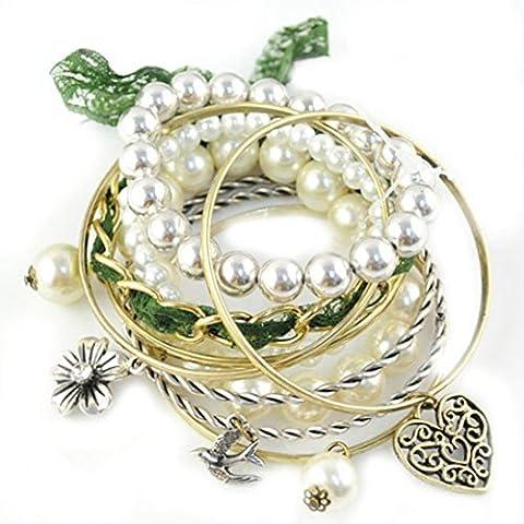 Brillante Faux Pearl Filigrana Ciondolo A Forma Di Fiore Braccialetto Gioielli Da Donna