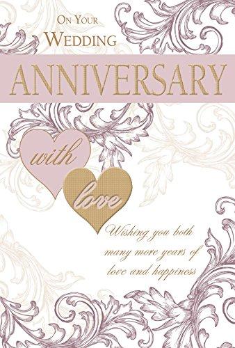 Offene Wedding Anniversary Karte–Gold Text, lila Herzen & Swirls 24,8x 16,5cm