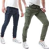 Instinct Pantaloni Uomo Cargo con Tasche Laterali Tasconi Jeans Slim Fit Elastico alle Caviglie Militari Zip