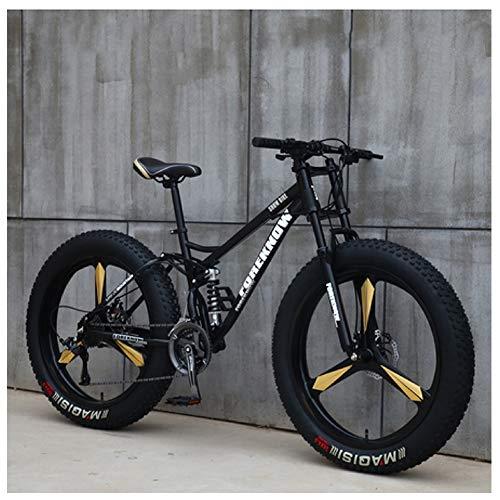 NENGGE Mountain Bike, 26 Pollici Fat Bike da Montagna, Telaio in Acciaio ad Alto Tenore di Carbonio Biciclette, Bicicletta Biammortizzata,27speed,Black3Spoke