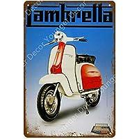shovv Letreros de Chapa de Metal de Lambretta Electrombile Italiano Vespa Electrocar Vintage Poster Wall Art Painting Plaque Car Garage Decor