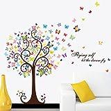 Mkkm Bastone di PVC parete priorità bassa dell'albero camera da letto soggiorno TV a muro adesivo decorativo romantico 60 * 90cm