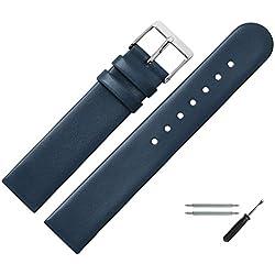 Uhrenarmband 18mm Leder blau glatt - inkl. Federstege & Werkzeug - Ersatzband für Uhren - Uhrband mit Schlaufe - Marburger Uhrenarmbänder seit 1945 - blau / silber