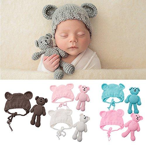 Juego de accesorios para fotografía de bebé recién nacido, diseño de oso de ganchillo y sombrero