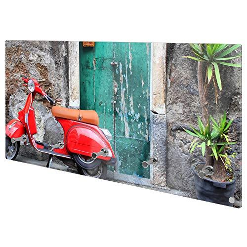 banjado Wandgarderobe aus Echtglas | Design Garderobe 80x40x6cm groß | Paneel mit 5 Haken | Flurgarderobe für Jacken und Mäntel |Garderobenleiste mit Motiv Italienischer Roller
