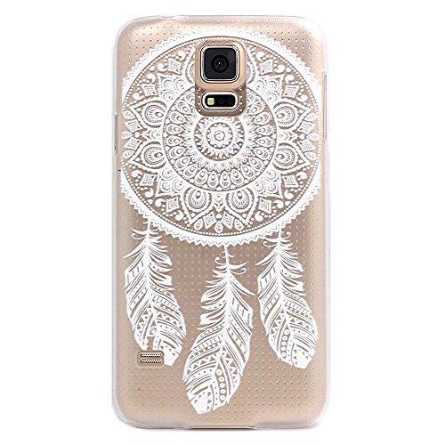 Qissy®Custodia silicone TPU Crystal Design fiore per Samsung Galaxy S5 menta bianco trasparente Stilosa custodia di Ultra Sottile Custodia Antigraffio Cover Antiurto (3)