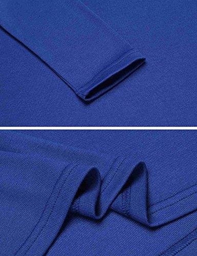 Meaneor donna sexy T Shirt pizzo top fluido maniche lunghe Slim camicetta Azzurro