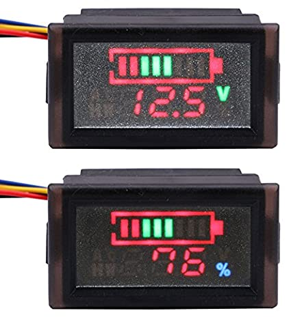 Yeeco Waterproof LED Digital Battery Meter DC 12V 24V 36V 48V 60V 72V 84V 96V Acid Lead/Lithium Polymer/Lithium Iron Phosphate/NiMH Battery Capacity Indicator 6-120V Voltage Volt Meter Multi Tester