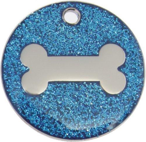 Just Pets Quality Enamel Blue Glitter Dog Tag, Dog Bone Design, Personalised, Engraved Free