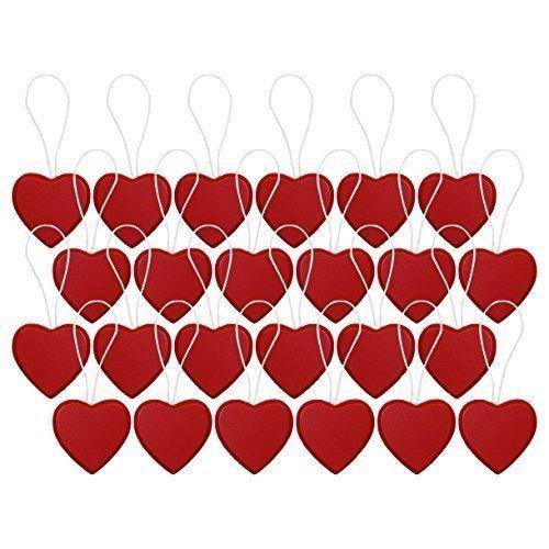 Packung 24 rot Mini Herz als Holz Weihnachtsbaum Wandbehang Anhänger Dekorationen