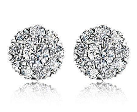 Gowe 0,48CT Certifié H/SI Diamant Boucles d'oreilles bijoux boucles d'oreilles clous d'oreille rondes Or blanc 18K