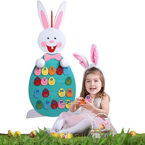 Tbhappy - coniglietto pasquale fai da te in feltro, per bambini, con 20 uova di pasqua staccabili, giocattolo educativo prescolare