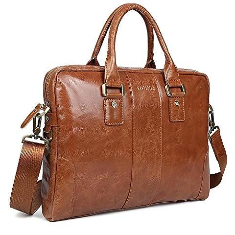 Tiding Men's Vintage Genuine Leather Case Messenger Satchel Handmade Business 14 Inch Laptop Briefcase Shoulder Crossbody Bag Tote Handbag