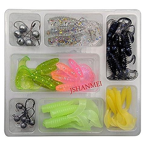 jshanmei® Soft Angelköder Set Schwanz Grub Wurm lockt und Jig Head Haken Gummiköder Shads Pesca Angeln Köder Tackle Kit, 48pcs/set Soft Lure Kit