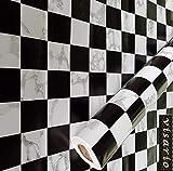 Visario Folie selbstklebend Schachbrett Schach schwarz weiß Dekor 10 m x 45 cm 3032