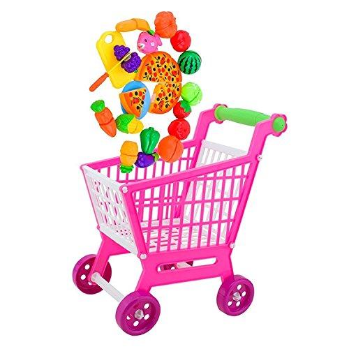 Soccik Mini Einkaufswagen Warenkorb mit 24 Stück Lebensmittel Frucht Gemüse Spielzeug Kinder Einkaufswagen Kinder Kaufladen Zubehör