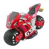 RC Ferngesteuert Motorrad Motorbike Motorcycle Racebike Elektro Kinder Spielzeug mit Simulation Fernbedienung Lenker Schwerkraft-Sensor 2,4G 4D RTR (rot)
