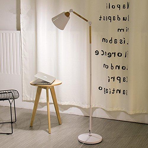 Nordic Lampadaire en fer forgé minimalis du bois Élément Salon Lampadaire réglage de l'angle Liseuse Chambre Lampadaire E27(non incluses) Weiß
