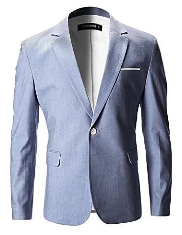 FLATSEVEN Mens Slim Fit Cotton Stylish Casual Blazer Jacket (BJ202) Navy, M