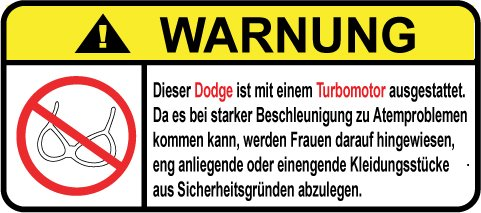 Dodge Turbo Motor German Lustig Warnung Aufkleber Decal Sticker (Charger Awd Dodge)