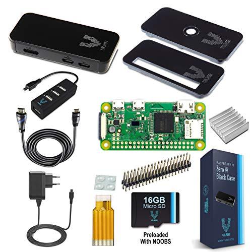 Vilros Raspberry Pi Zero W Complete Starter Kit with Black Case-EU Plug Edition