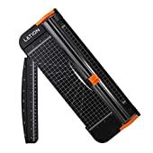 LETION Paper Cutter A4, Craft Paper Trimmer Portable Guillotine 12In Titanium Scrapbooking Tool with Automatic Security Safeguard and Side Rule for Handcraft Coupon Label and Cardstock(Black)