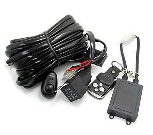 WINGONEER 2 Blei Universal-LED-Lichtleiste Kabelbaum Kit mit Fernbedienung und Sicherung Relais EIN / AUS-Schalter für LED Off-Road-Fahrlicht Nebellicht Arbeitslicht (Auto Batterie Direkt-kit)