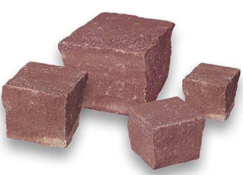 Sandstein Pflaster - Farbe Wine Red 6x6x4/6 cm 1000 kg - Natursteinpflaster für individuelle Weggestaltung für den Garten und auf der Auffahrt