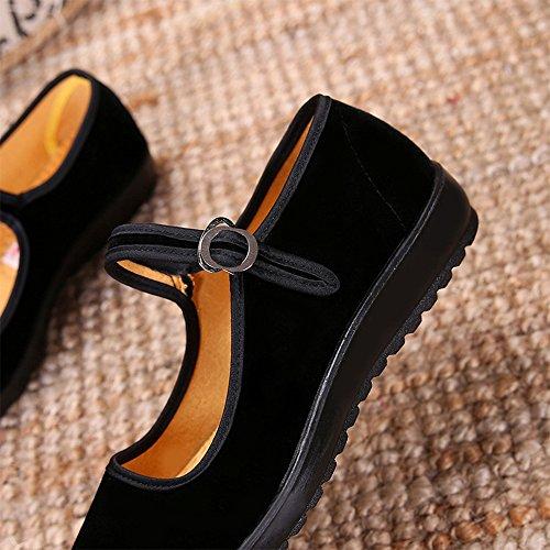 BOZEVON Donna Moda Classico Ballerine Mary Jane Scarpe Basse Loafers Sandali, rosso Nero
