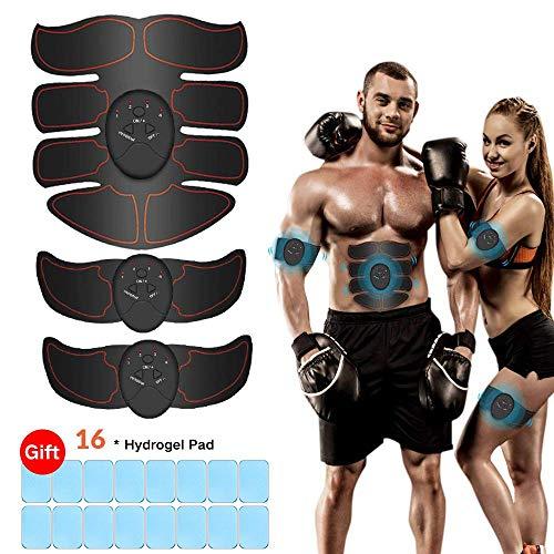 Elettrostimolatore per addominali,ithrough elettrostimolatore muscolare professionale, ems eletro stimolatore muscolare,ab trainer/toner per addome/braccio/vita/gambe home gym con 16pcs gel pezzi