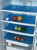 Kuber Industries Circle Design 6 Piece PVC Refrigerator Drawer Mat Set - 19'x13', Blue